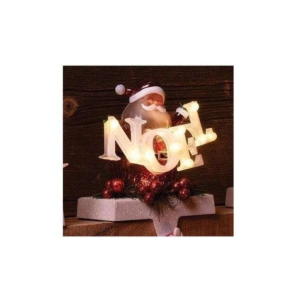 """6.5"""" Santa Claus with Noel Sign LED lighted Christmas Stocking Holder - RED"""