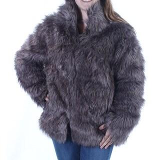 WILDFLOWER $149 Womens New 1141 Gray Faux Fur Reversible Button Down Coat M B+B