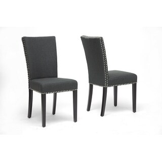 Harrowgate Dark Gray Linen Modern Dining Chair - 2 Chairs