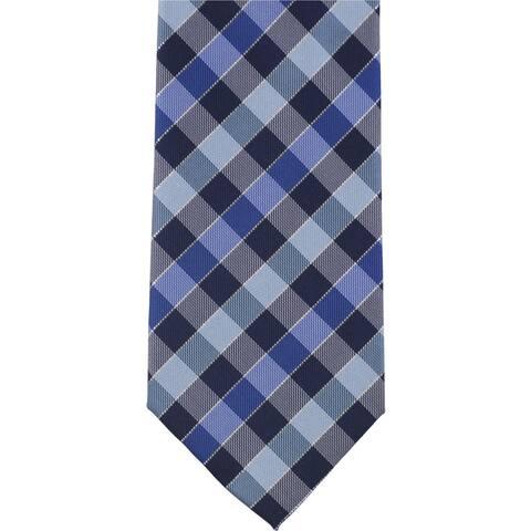 Geoffrey Beene Mens Checkered Self-tied Necktie, blue, One Size - One Size