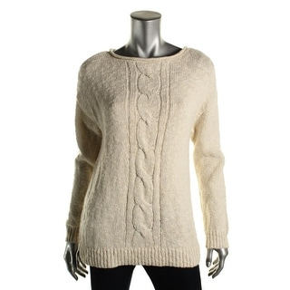 American Living Womens Metallic Cable Knit Pullover Sweater