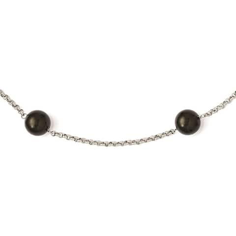 Sterling Silver Majestik 10-11mm Black Shell Bead 7 Station Necklace