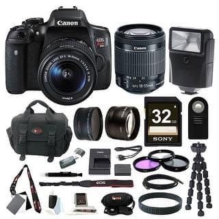 Canon EOS Rebel T6i DSLR Camera w/ 18-55mm f/3.5-5.6 Lens & 32GB SD Card Bundle https://ak1.ostkcdn.com/images/products/is/images/direct/0890bafac968e3d768cd97f051124eafc07ae411/Canon-EOS-Rebel-T6i-DSLR-Camera-w--18-55mm-f-3.5-5.6-Lens-%26-32GB-SD-Card-Bundle.jpg?impolicy=medium