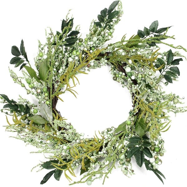 Multifarious Leaves 12 Inch Spring Artificial Wreath, Shades of Green