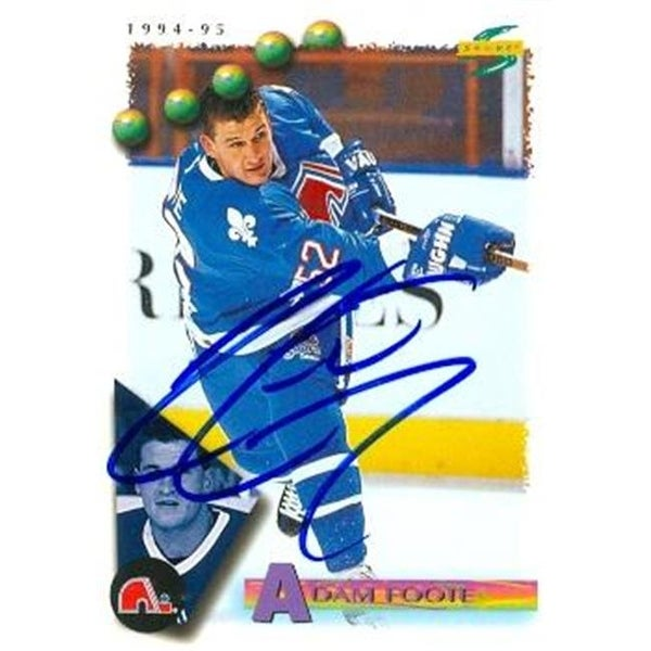 89969f845 Shop Adam Foote Autographed Hockey Card Quebec Nordiques 1994 Score No. -  Free Shipping On Orders Over  45 - Overstock - 23702536