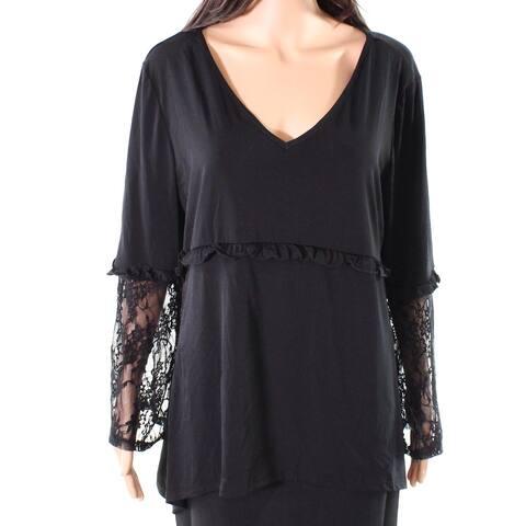 NY Collection Black Women's Size XL Lace Sleeve V-Neck Blouse