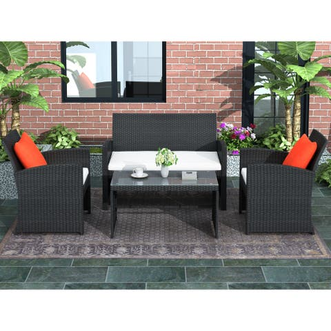 4 Pieces Outdoor Patio Set All-Weather Rattan Loveseat and Chairs with Tempered Glass Tabletop