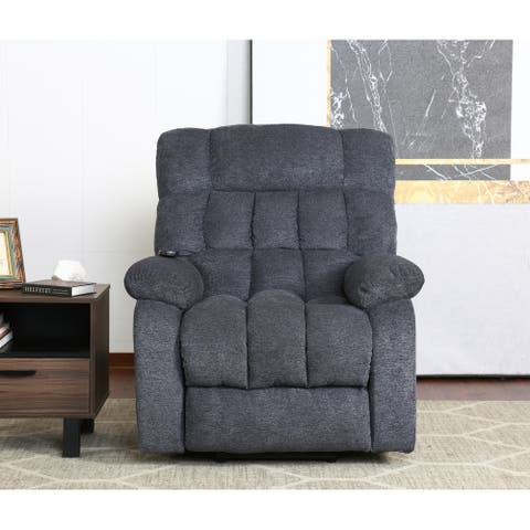 Electric lift recliner with heat therapy and massage, heavy recliner, with modern padded arms and back, blue