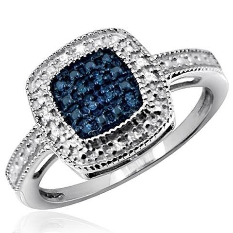JewelonFire Sterling Silver 1/10 Ctw Blue & White Diamond Square Ring