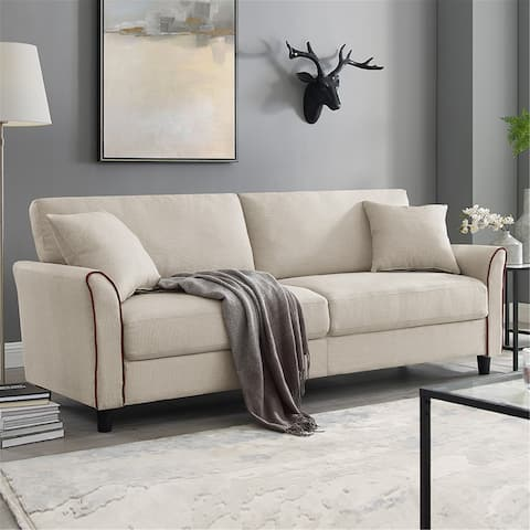 Upholstered 85 Inch Sofa Couch, Modern Linen Fabric Couch for Small Space