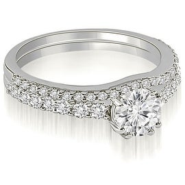 1.04 cttw. 14K White Gold Cathedral Round Cut Diamond Bridal Set