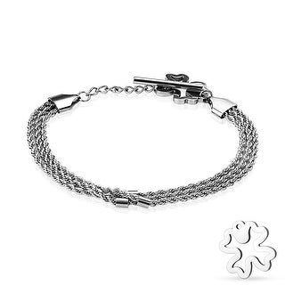 """Hollow Shamrock End Triple Braided Chain Stainless Steel Bracelet - 7"""" (Sold Ind.)"""
