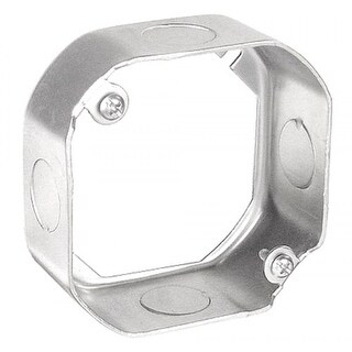 10 Pcs, 4 in. Octagon Extension Ring, 1-1/2 in. Deep, 1/2 & 3/4 in. Knockouts, .0625 Galvanized Steel