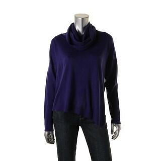 Eileen Fisher Womens Petites Turtleneck Asymmetrical Poncho Sweater - pm
