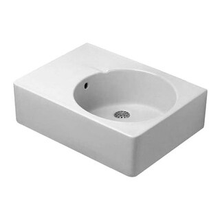 "Duravit 685600000 Scola 24-1/4"" Ceramic Bathroom Sink for Vanity, Wall Mounted, or Console Installations with Pre-Punched Tap"
