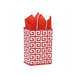 """Pack Of 250, Rose 5.5 x 3.25 x 8.5"""" Red Geo Graphics Recycled Paper Shopping Bag W/White Paper Twist Handles"""