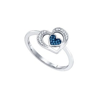10kt White Gold Womens Round Blue Colored Diamond Heart Love Fashion Ring 1/20 Cttw