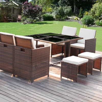 Homall 9 Pieces Patio Dining Sets Outdoor Space Saving Rattan Chairs with Glass Table Sectional Conversation Set with Cushions