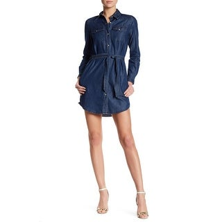 French Connection NEW Blue Womens Size 12 Denim Belted Shirt Dress