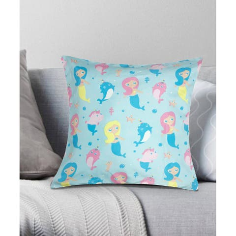 Mermaid and Friends Decorative Throw Pillow 18x18