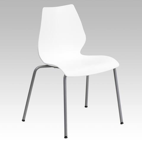 HERCULES Series Stack Chair with Lumbar Support and Silver Frame