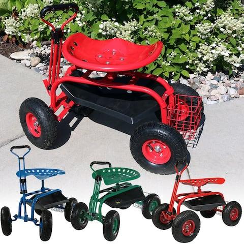 Sunnydaze Rolling Garden Cart w/ Extendable Steering Handle Swivel Seat & Basket