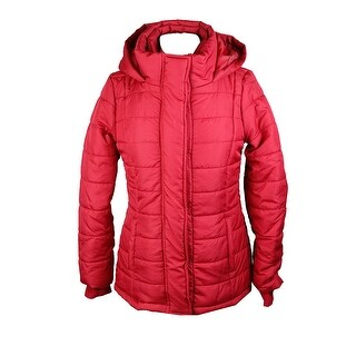 Rampage Red Hooded Quilted Puffer Coat S