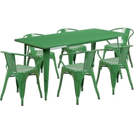 Kendrick Rectangular 31.5'' x 63'' Green Metal Indoor-Outdoor Table Set w/6 Arm Chairs for Restaurant/Bar/Pub/Patio