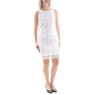 Womens White Sleeveless Above The Knee Shift Casual Dress Size: 4