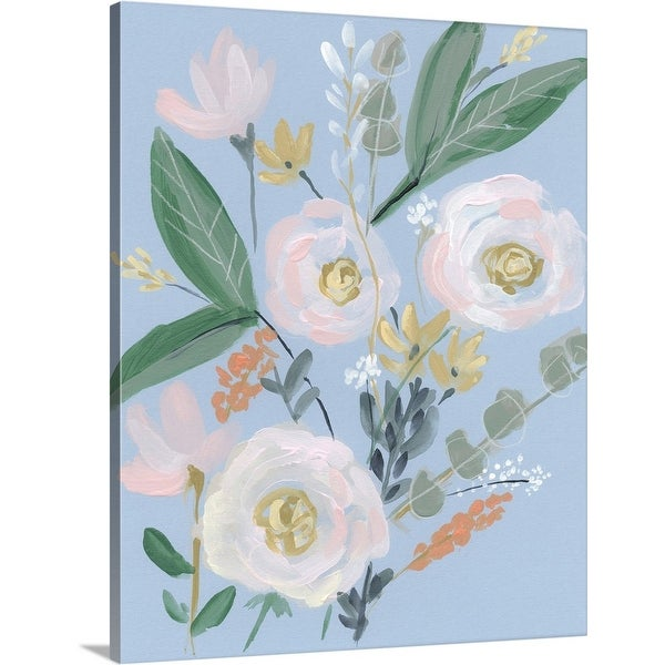 """Spring Bouquet on Blue II"" Canvas Wall Art"