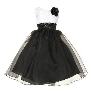 Girls Black White Satin Rosette Sequin Organza Flower Girl Dress 8-12