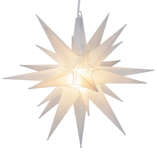 "Wintergreen Lighting 72729 Indoor / Outdoor LED Moravian Star with 60"" Lead - CLEAR - N/A"