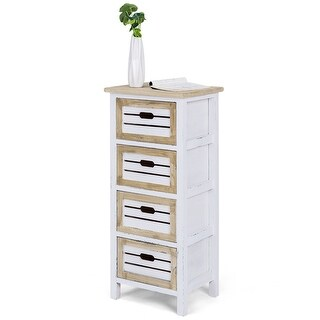 Costway Wooden Chest Bedside Table Nightstand Cabinet Side End Table 4 Drawer - as pic