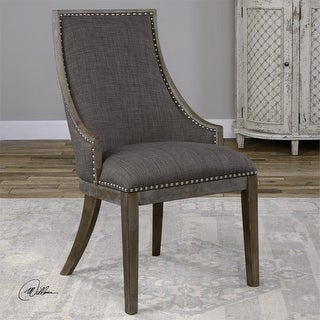 "39"" Aidrian Charcoal Gray Curved Back Birchwood Frame Accent Chair"