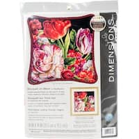 """Bouquet On Black Needlepoint Kit-14""""X14"""" Stitched In Thread"""