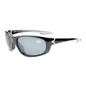 Eyekepper TR90 Unbreakable Sports Grey Lens Shiny Black Frame Bifocal Sunglasses+2.5