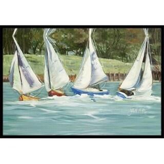 Carolines Treasures JMK1035JMAT Sailboats On The Bay Indoor & Outdoor Mat 24 x 36 in.
