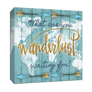 """PTM Images 9-147269  PTM Canvas Collection 12"""" x 12"""" - """"Wanderlust"""" Giclee Sayings & Quotes Art Print on Canvas"""