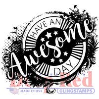 """Deep Red Cling Stamp 3""""X4""""-Awesome Day"""