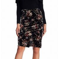 Bobeau Black Womens Size Medium PM Petite Floral Straight Skirt