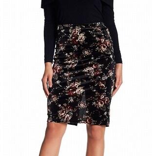 Bobeau NEW Black Womens Size PXS Petite Floral Velvet Straight Skirt