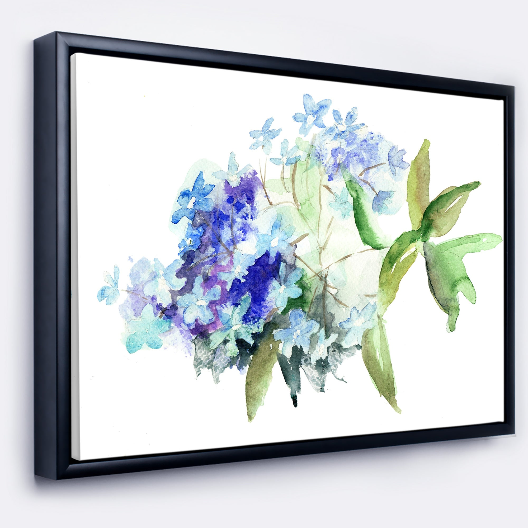 Blue Hydrangea Blossoms Giclee Canvas Wall Art Picture