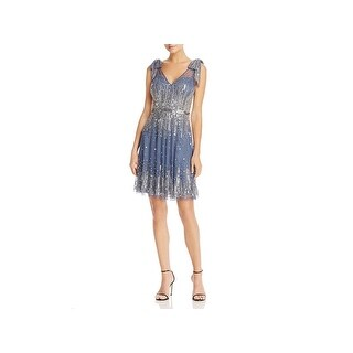 Aidan Mattox Womens Mini Dress Embellished V-Neck