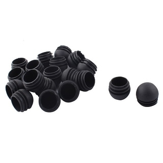 Chair Desk Legs Plastic Round Tube Pipe Inserts Caps Cover Black 32mm Dia  20pcs