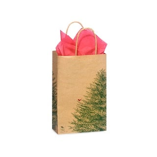 """Pack Of 250, Rose 5.5 X 3.25 X 8.5"""" Evergreen Tree Recycled Paper Shopping Bags Made In Usa"""
