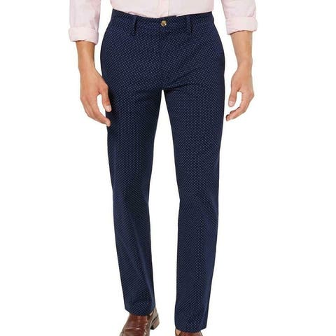 Club Room Mens Barry Chino Pants Navy Blue Size 38x30 Polka Dot Straight