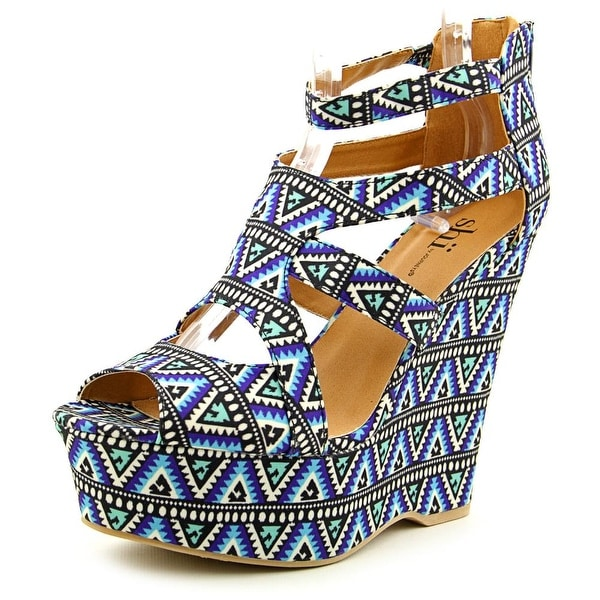 Famous Name Brand Cabazon Open Toe Canvas Wedge Sandal