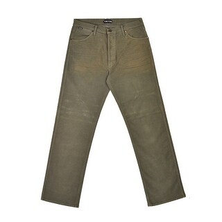 Tom Ford Mens Light Olive Green Cotton Loose Fit Jeans - 33
