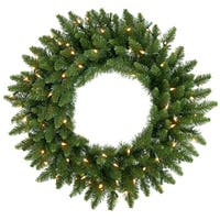 "20"" Pre-Lit Camdon Fir Artificial Christmas Wreath - Clear Dura Lit Lights"