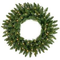 "30"" Pre-Lit Camdon Fir Artificial Christmas Wreath - Warm Clear LED Lights - green"